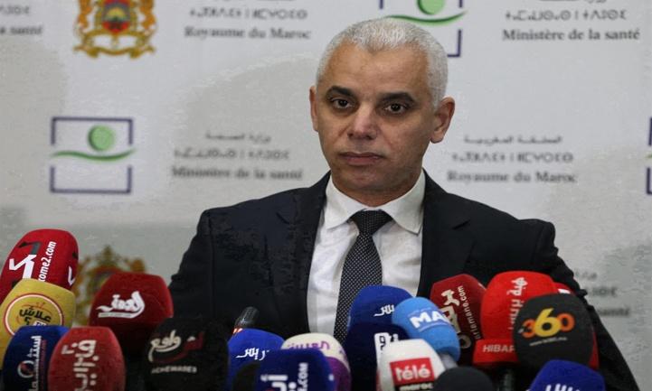 Le Ministre de la Santé M. Khalid Ait Taleb intervenant lors d'une conférence de presse