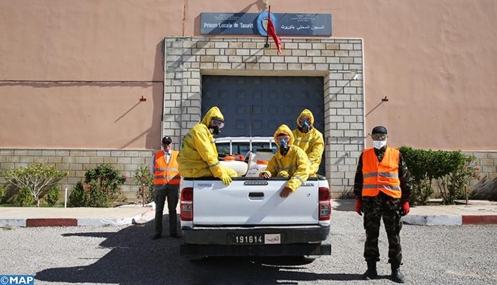 Opération de désinfection au sein de la prison de Taourirt (Ph. MAP)