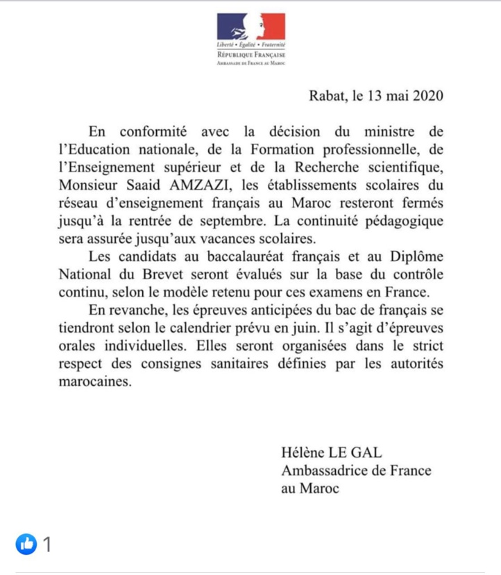 Communiqué de l'ambassade française diffusé mercredi