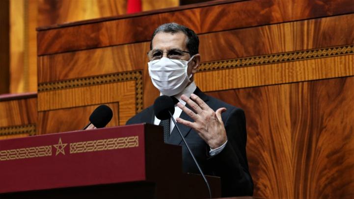 Le Chef du gouvernement, Saad Dine El Otmani, s'exprimant lors de la séance mensuelle des questions de politique générale devant la Chambre des représentants.