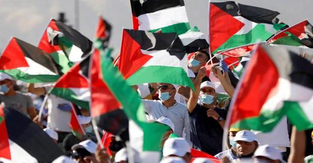 Des manifestants contre le projet d'annexion d'une partie de la Cisjordanie par Israël, à Jéricho, le 22 juin 2020