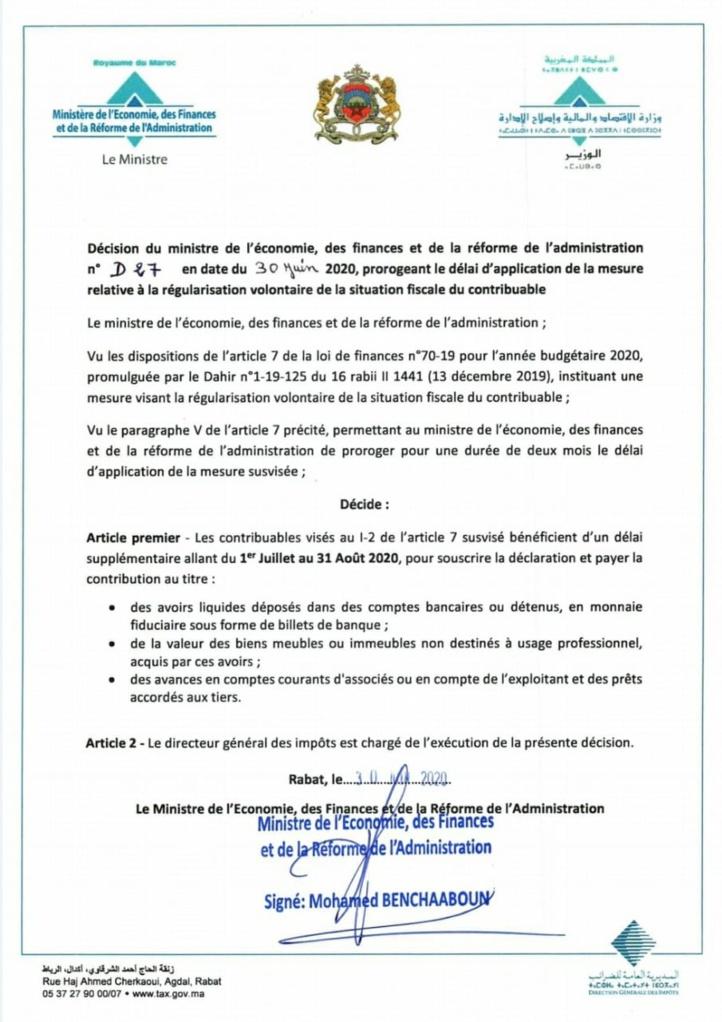 Contribuable : Prolongation du délai pour la régularisation fiscale volontaire