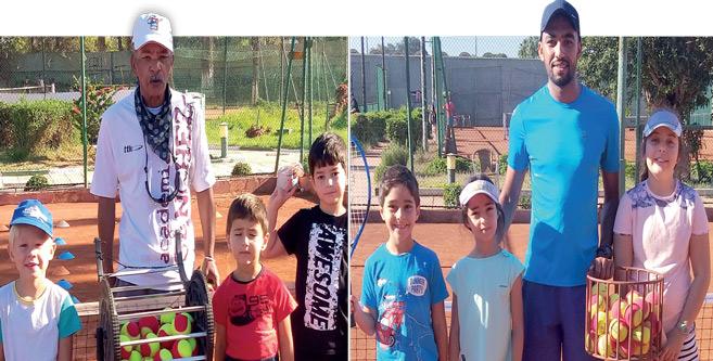Quelques ateliers de l'école de tennis du Stade Marocain et leurs entraîneurs