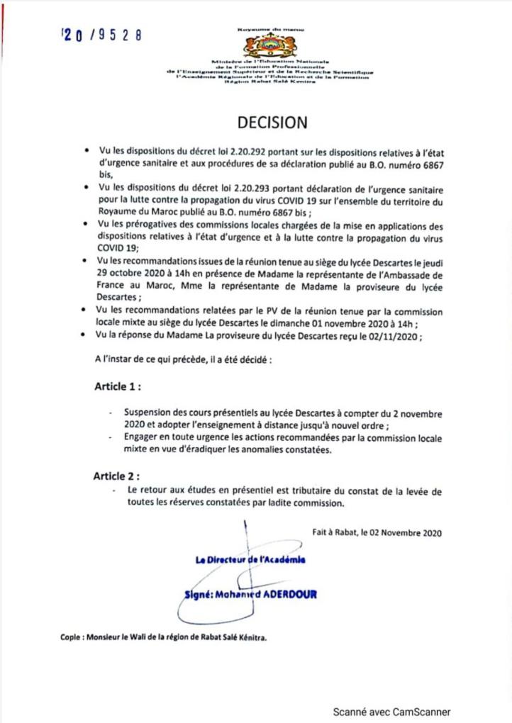 Le lycée Descartes de Rabat fermé par les autorités locales
