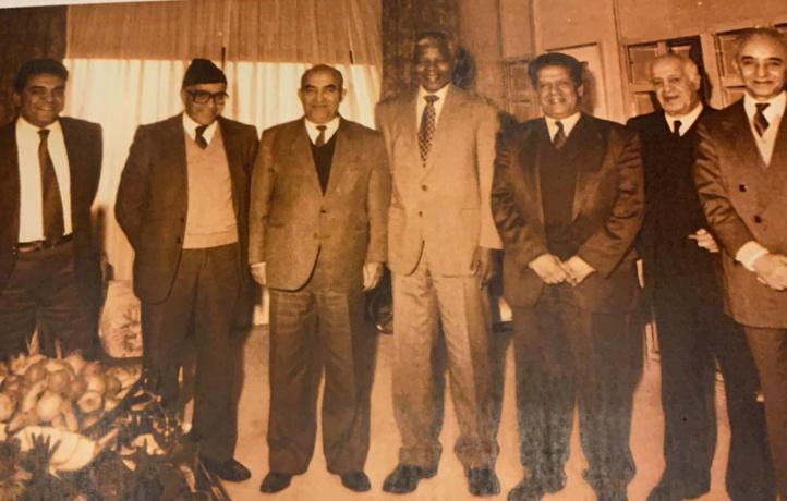 Mohamed Louafa en compagnie de M'Hamed Boucetta, Abderrahman El Youssoufi, Nelson Mandela, Mohamed El Yazghi, Ali Yata et M'hamed Douiri