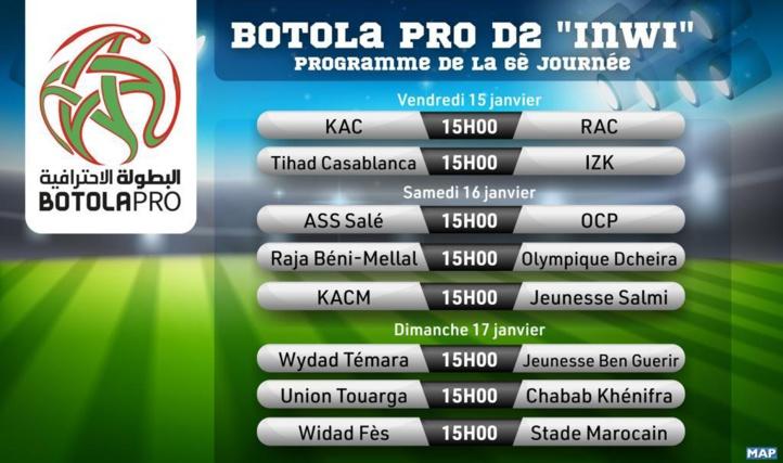 Botola Pro D2/6ème journée: Le programme