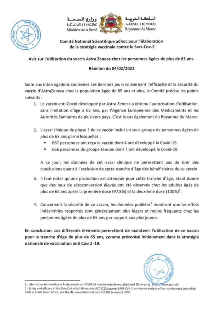 Le vaccin AstraZeneca maintenu au Maroc pour la population âgée de 65 ans et plus