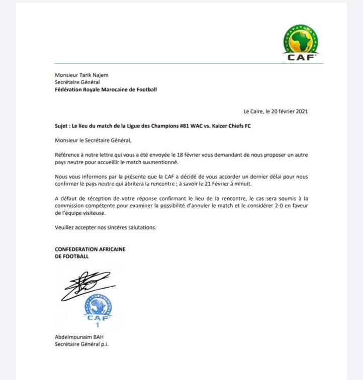 A défaut d'un terrain neutre avant minuit : La CAF : « Le Wydad sera déclaré perdant par 2 à 0 face au Kaizer ! »