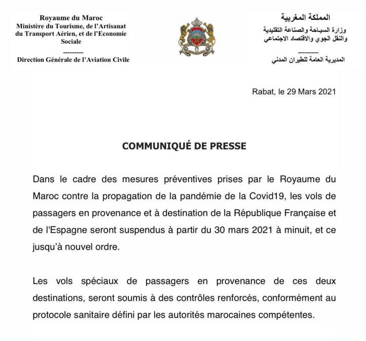 COVID : Le Maroc suspend ses liaisons aériennes avec la France et l'Espagne
