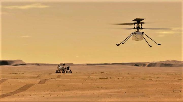L'hélicoptère Ingenuity sur la surface de la planète Mars