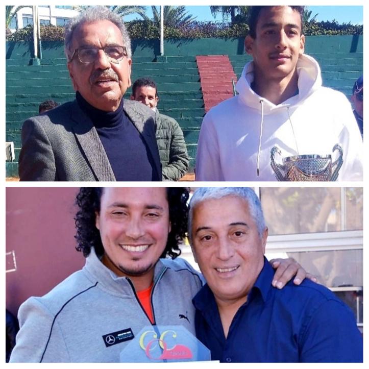 En haut: Le président, Dr Abderrahim El houari (à gauche), lors d'une récente remise des Prix En bas: A droite, le trésorier du C.O.C, Adil Dahmany, avec le directeur technique du club.