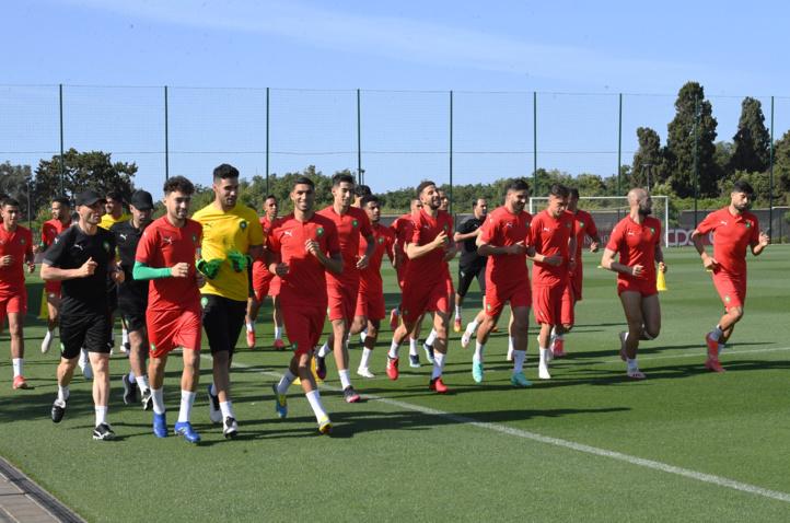 Une séance d'entrainement de l'équipe nationale hier au complexe Mohammed VI à Maâmora.