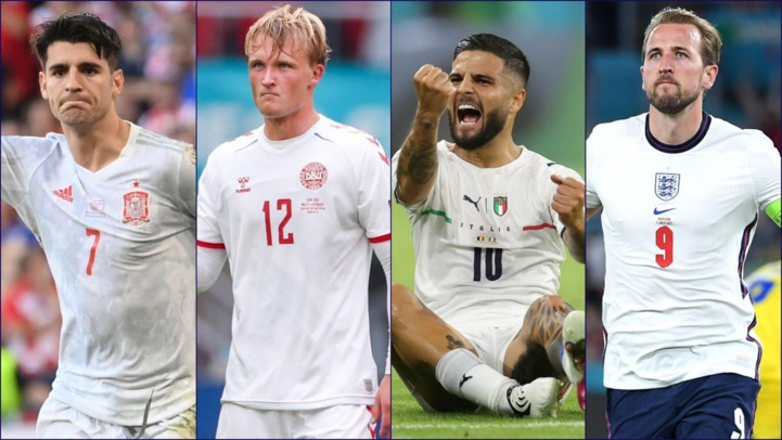 Alvaro Morata (Espagne), Kasper Dolberg (Danemark), Lorenzo Insigne (Italie) et Harry Kane (Angleterre).