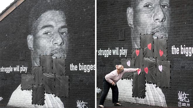 Une fresque murale de Rashford vandalisée par des Hooligans
