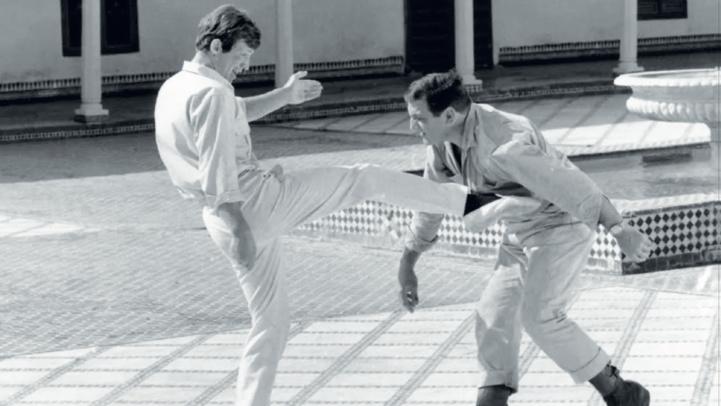 Jean-Paul Belmondo et Lino Ventura. Scène finale du film au Palais Bahia à Marrakech.