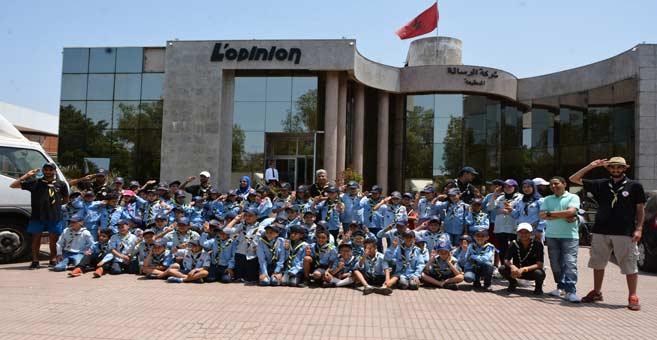 Une nouvelle génération des scouts de l'Organisation du scout marocain visitant L'Opinion et AL ALAM, juillet 2019.