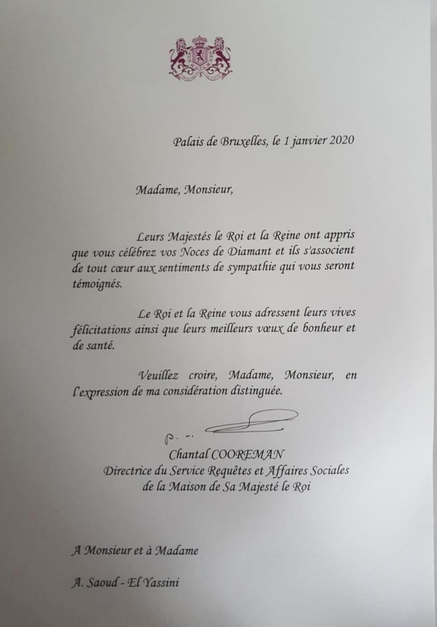 Copie de la lettre Royale de félicitations