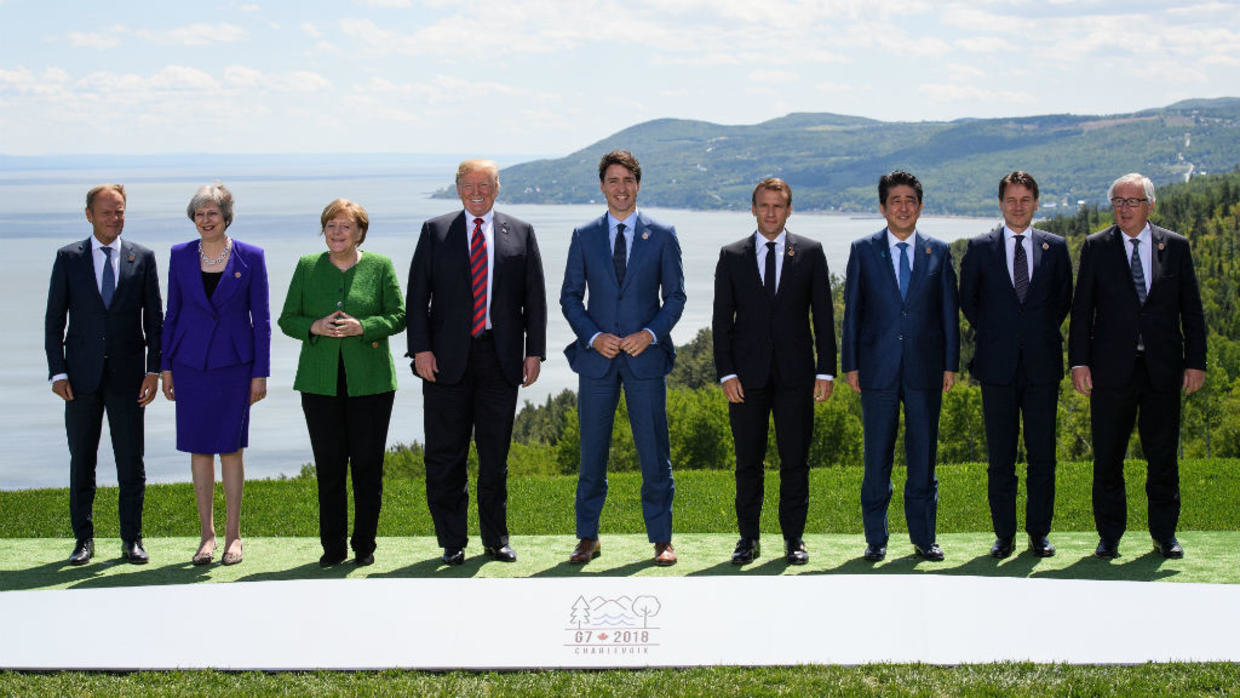 La traditionnelle photo des membres du G7 à La Malbaie, au Québec, en 2018 (Ph. AFP)