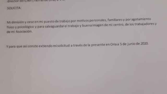 Lettre de démission présentée, le 5 juin, par le directeur du centre.