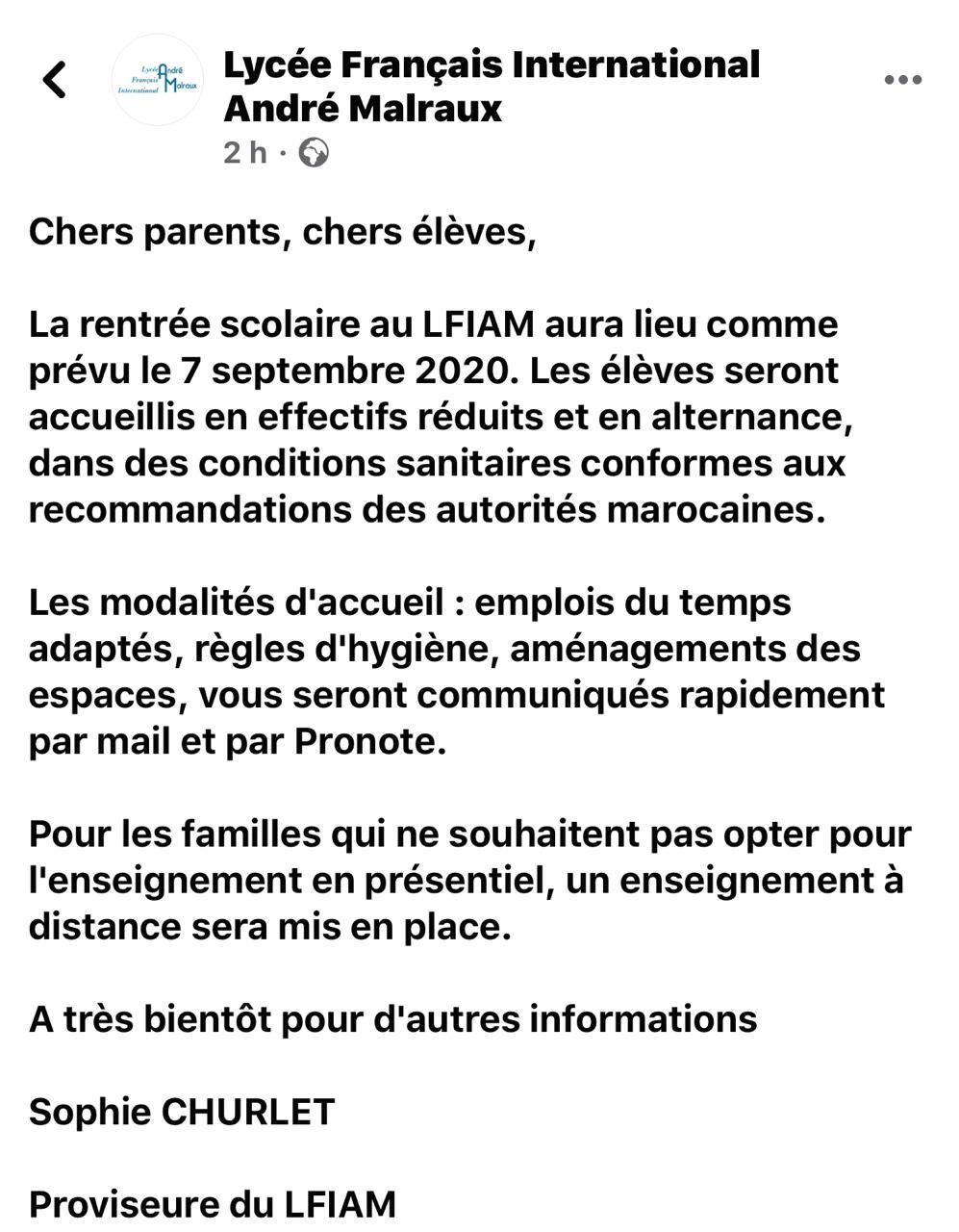 Message initial de la proviseure du LFIAM avant sa modification