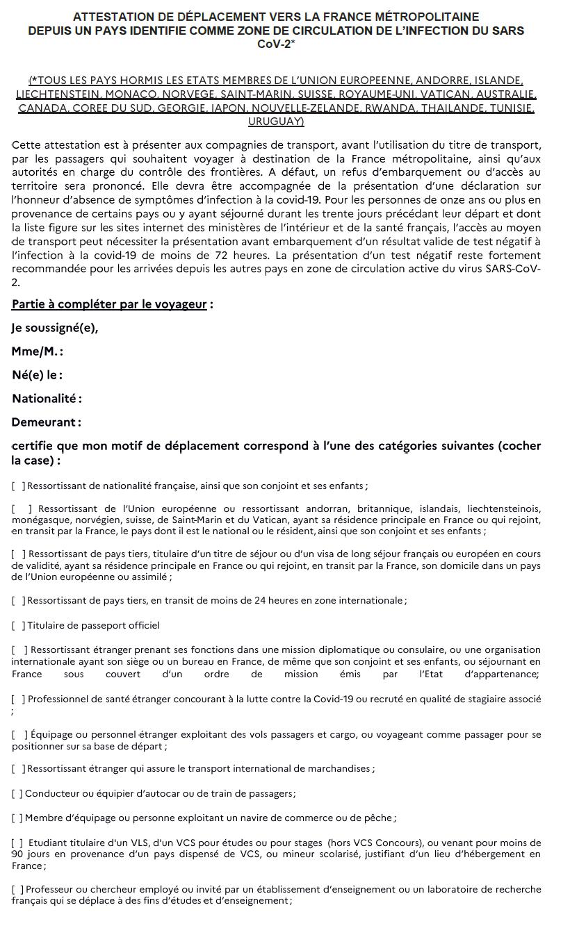 Voyage en France : nouveau modèle de l'attestation de déplacement international