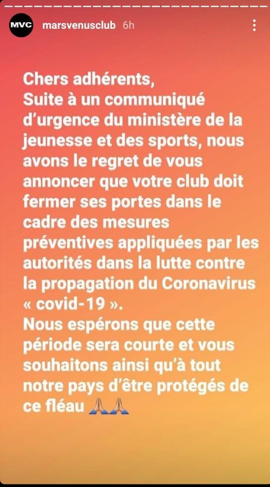 Fermeture des salles de sport à Rabat