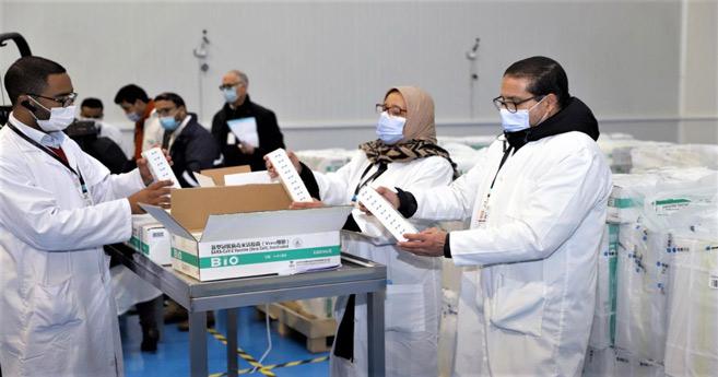 Préparatifs pour la distribution des premières doses du vaccin chinois Sinopharm réceptionnées sur l'ensemble des régions du Royaume après le parachèvement de toutes les procédures techniques requises. Ph. MAP