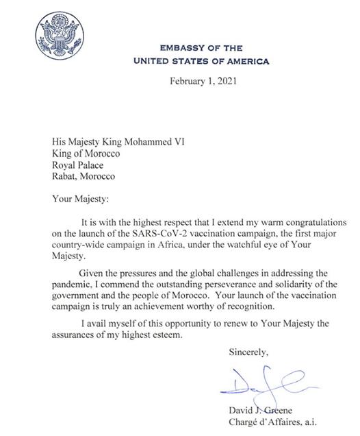 David Greene adresse une lettre de respect et de félicitations au Souverain