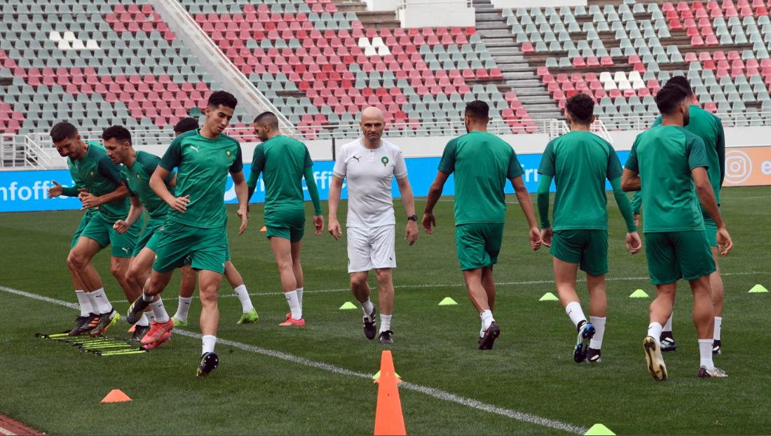Dernière séance d'entrainement de l'équipe nationale hier lundi avant la rencontre d'aujourd'hui.