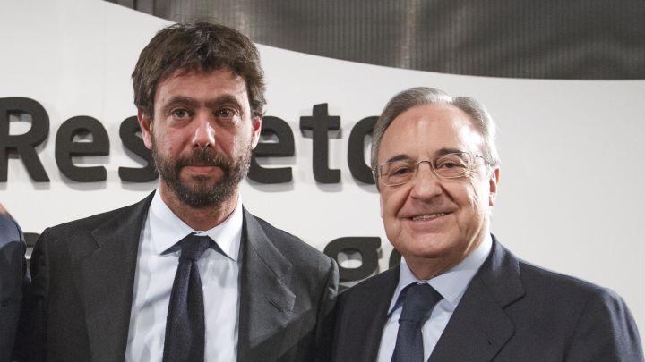 Florentino, du Real, président fondateur de la Super League d'Europe et son proche collaborateur le président de la Juventus de Turin