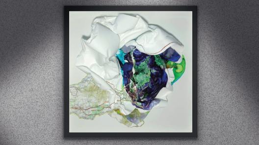 Topographie, 40 x 40 cm, mixte sur cellulosique, 2021.