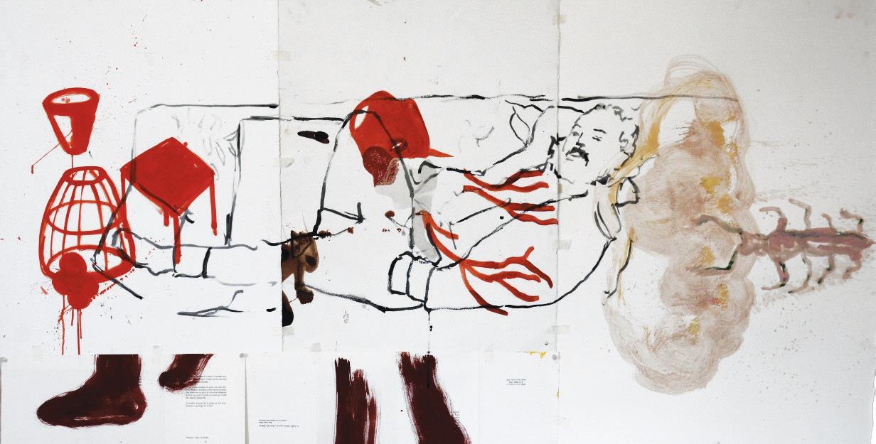 «Sleeping with Jamal», technique mixte sur papier, Amina Benbouchta et Ilias Selfati, 2021.
