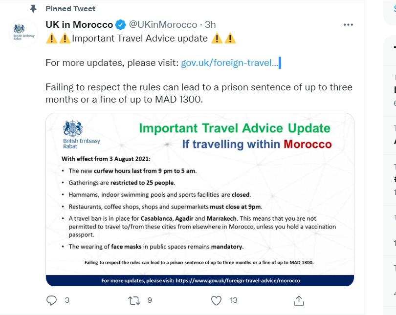 L'ambassade du Royaume-Uni à Rabat adresse des conseils aux voyageurs souhaitant visiter le Maroc