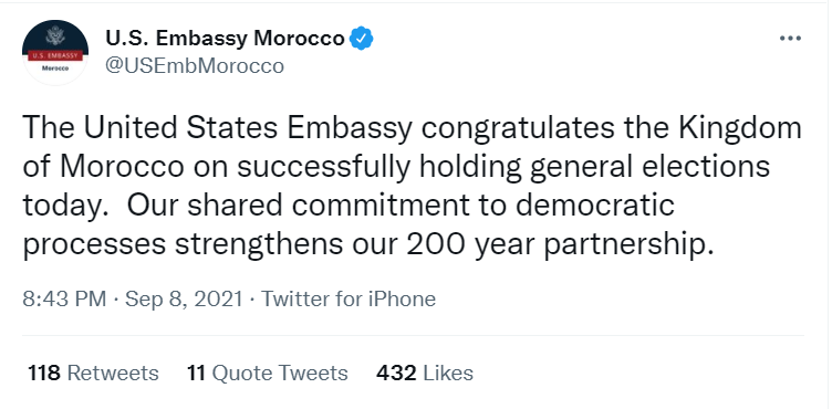 Les Etats-Unis félicitent le Maroc pour le déroulement des élections