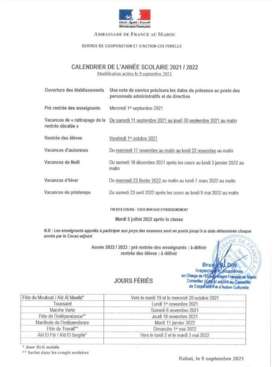 Mission française: L'Ambassade française dévoile le calendrier scolaire