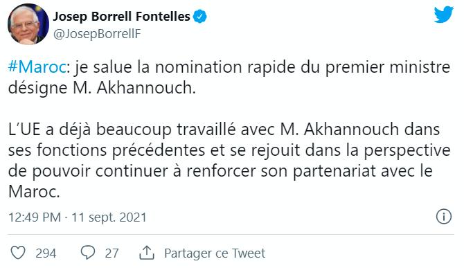 L'UE a «hâte de s'engager» avec le nouveau gouvernement marocain