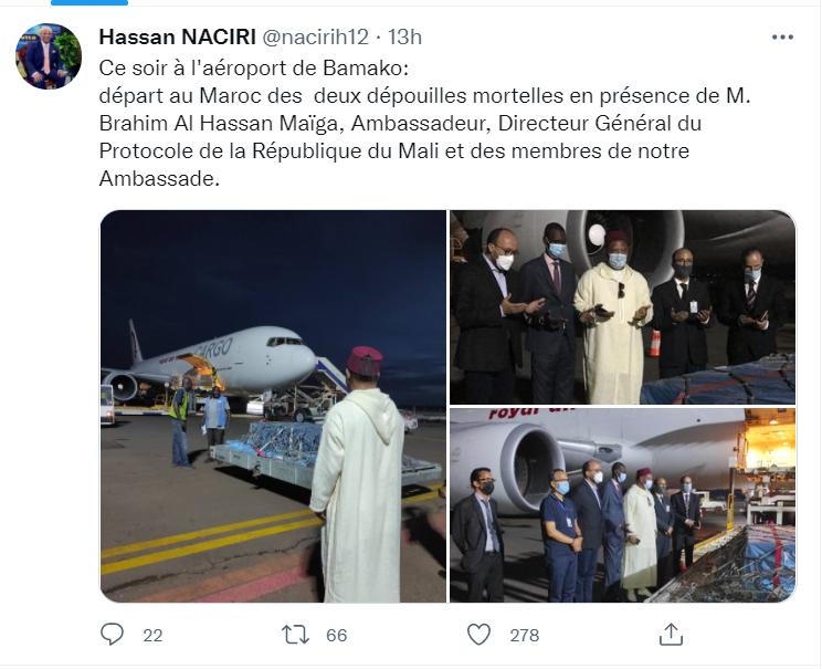 Rapatriement  des dépouilles des deux camionneurs marocains tués au Mali