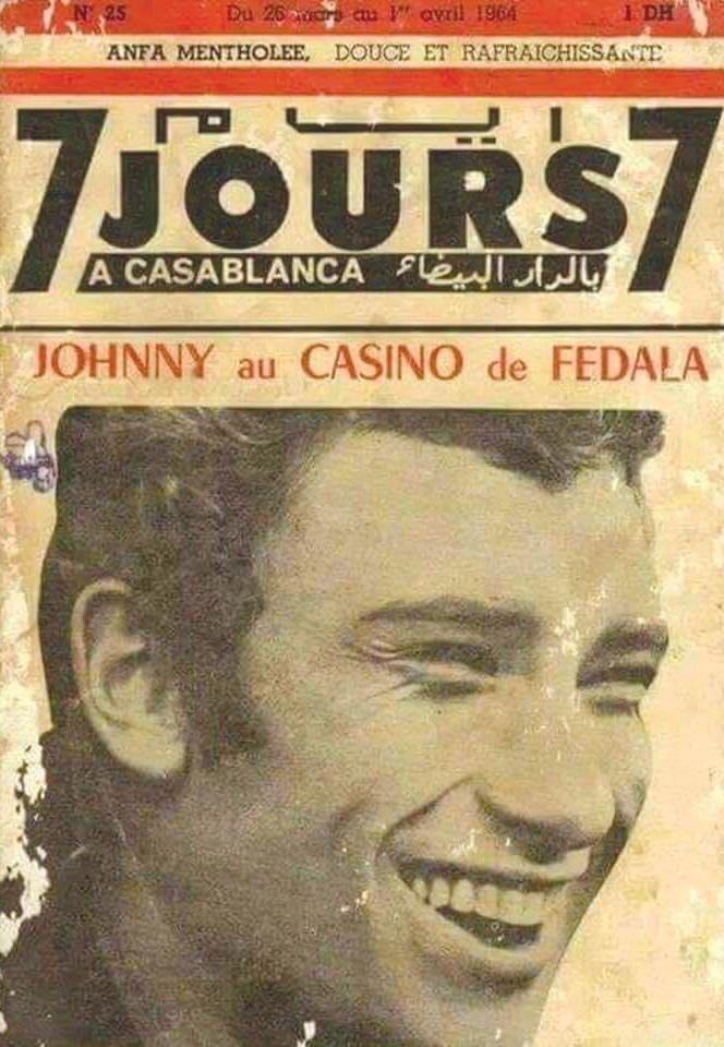 Affiche du concert que Johnny Halliday donne le 29 mars 1964 au Casino Fédala de Casablanca